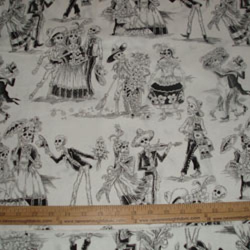 Alexander Henry Paseo de los Muertos Black and White toile