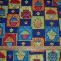 Cotton Fabric HAPPY BIRTHDAY CUPCAKES