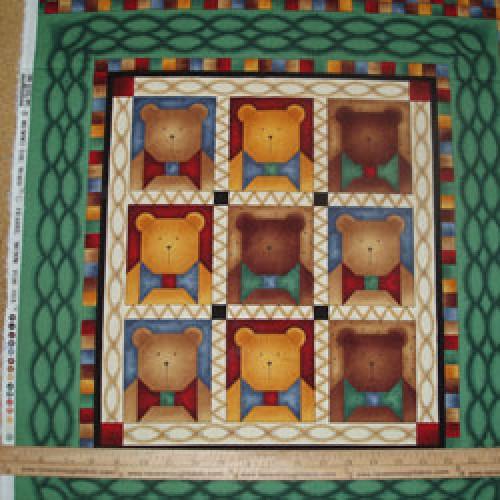 Cotton Fabric Debbie Mumm craft panel Bears with Bow Ties