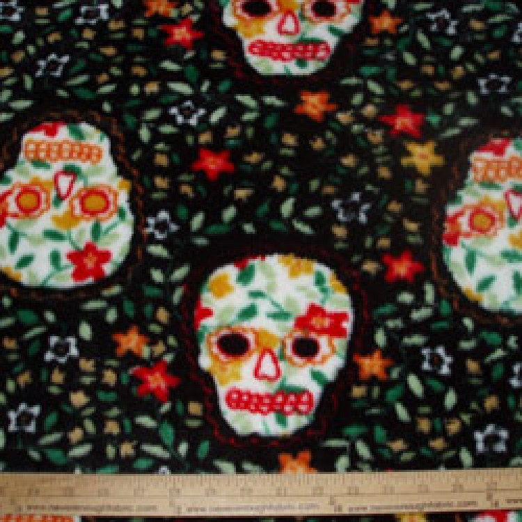Fleece heavenly plush latin traditions dia de los muertos for Celestial fleece fabric